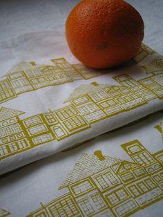 HUTS hand screen printed fabric $15