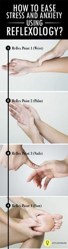 """How to ease stress and anxiety using reflexology."" Routines, ideas, activities and worksheets to support your self-care. Tools that work well with motivation and inspirational quotes. For more great inspiration follow us at 1StrongWoman."