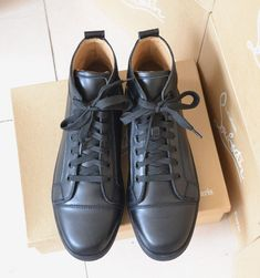 b4716806c364 Christian Louboutin men shoes calf leather no studed high top sneaker  Calves