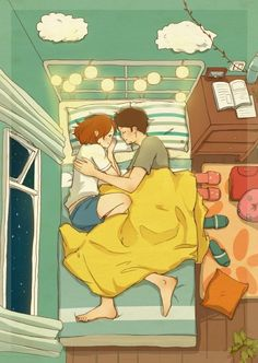 #love #night #sleep #illustration