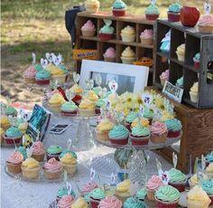 Wedding dessert table. I Like the boxes