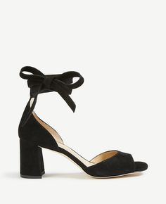 2794dc449ef NIB Ann Taylor Nika Suede Block Heel Open Toe Ankle Tie Sandals Black Size 7  in Clothing