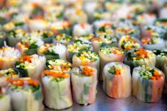 Asian Spring Roll - Julienne Carrot and Zucchini, Mint, Bean Sprout, Rice Wrapper and Nuam Moc Sauce | Foxtail Catering & Events