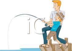 iCLIPART - Royalty Free Clipart Image of a Father and Son Fishing