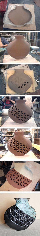 Proceso de creación de jarrón en cerámica