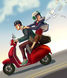 Hiro Hamada and Tadashi on the Motorcycle and it looks like Hiro just lost his homework.