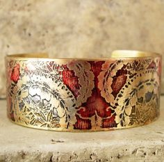 Etched Brass Cuff Hand Painted Design by AmongTheRuins on Etsy