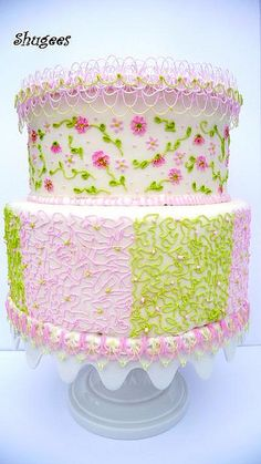 Pink & Green Cake ~ so pretty!