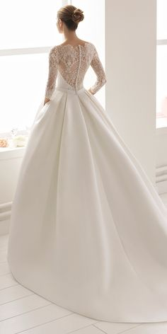 rosa clara 2017 bridal sleeveless bateau neckline simple clean drop waist ball gown wedding dress with pockets cover lace back chapel train (nao) bv -- Rosa Clará 2017 Bridal Collection women Aire Barcelona Wedding Dresses, Wedding Dress Trends, Long Wedding Dresses, Bridal Dresses, Dresses Dresses, Gown Wedding, Wedding Poses, Formal Dresses, Lace Wedding