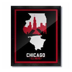 Chicago, Illinois Skyline Poster Print: Wall Art - Red/Black Basketball