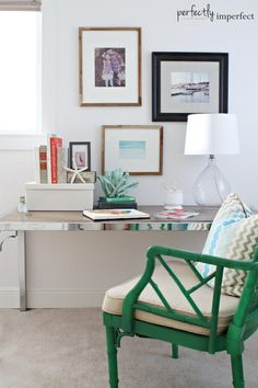 coastal bedroom desk & painted vintage bamboo chair | perfectly imperfect