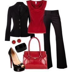 Red and Black Workday by averbeek on Polyvore