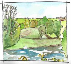 359. www.Marksoftime.com   On the other side of the river is the site of the third castle in the village. This is a motte known as Pigeon Hill. The foundations of a rectangular stone castle are recorded, though these can't be seen today. It was occupied by the O'Neill's in advance of the Ulster Plantation of the early Seventeenth Century but was recorded as ruined by the new settlers