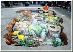 Sidewalk chalk art... just amazing
