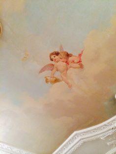Painted ceiling Angel Aesthetic, Aesthetic Art, Ceiling Painting, Angel Wallpaper, Aesthetic Painting, Classical Art, Angel Art, Renaissance Art, Ciel