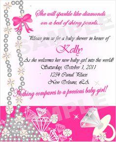 Pearls and Diamonds Baby Shower Invites  www.shonais.com