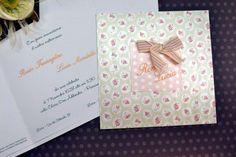 Partecipazioni di nozze fondo a fiori,nomi sposi e fiocco