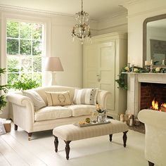 Here& another beautiful example of a Georgian house and interior but this home tour has leans more to the Country end of Modern Country. English Living Rooms, Beige Living Rooms, My Living Room, Home And Living, Living Room Furniture, Living Room Decor, Country Furniture, Furniture Ideas, Farmhouse Furniture