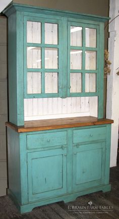 Don't you want to squeal when you see this teal? ;) (custom made barn wood hutch) Handcrafted of reclaimed barn wood by  E. Braun Farm Tables and Furniture, Inc.™. Showroom in Lancaster County, PA - heart of Amish country: Intercourse, PA