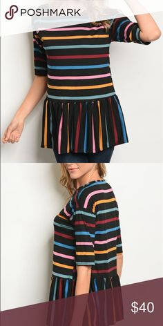 eb3f27357d17c Colorful black rainbow striped shirt sleeve top Beautiful short sleeved  blouse with a ruffle peplum look
