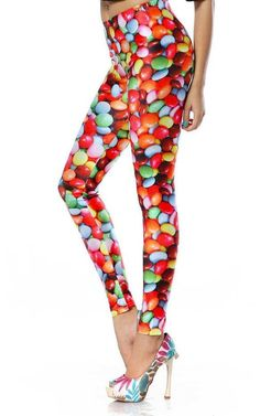 Jelly bean candies create a riot on these leggings.