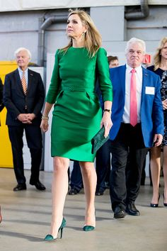 Queen Maxima of The Netherlands in a emerald belted Natan dress, added a pair of Jade earrings, carried a deep green clutch bag to her ensemble and opted for a forest green suede heeled pump   as she attends Day of the Entrepreneur in the Netherlands in Delft