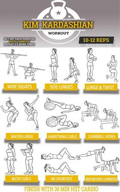 Kim Kardashian Workout Chart | Pop Workouts - The Kim Kardashian Workout Chart shows you her exact routine routine. Print out a copy, and take it to the gym with you. Whether you're looking for motivation, or simply a workout routine you can stick to, this is it! In order to tone her legs and butt, Kim Kardashian's workout starts with lower body