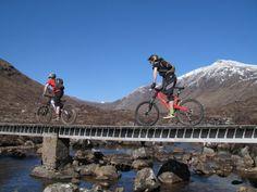 The only built river crossing. Pete is 2013 Coire Fionnaraich Bridge Wrestling Champion.