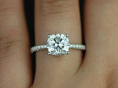 Rosados Box Blanche White Gold Thin FB Moissanite and Diamond Cushion Engagement Ring <3