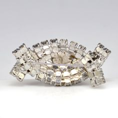 Deco Rhinestone Pin Brooch 3D Marquis White Evening by Karmalings, $54.99