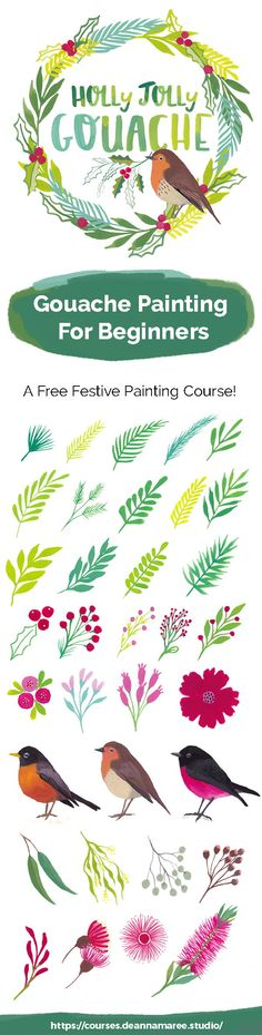Deanna Maree Studio Gouache Painting For Beginners – A Free Online Class by Deanna Maree Creative Studio! Learn to paint leaves, flowers, robins and a wreath in gouache! Easy Watercolor, Watercolor Design, Watercolor Paintings, Watercolors, Christmas Poster, Christmas Art, Love Drawings, Art Drawings, Gouche Painting