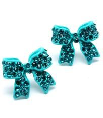 Turquoise Crystal Studded Bow Earrings $7.00