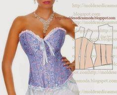 corset como hacer un Como hacer un corset con mold - corset Diy Clothing, Sewing Clothes, Clothing Patterns, Dress Patterns, Fashion Sewing, Diy Fashion, Ideias Fashion, Costura Fashion, Corset Pattern