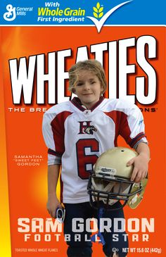 Day 16: 9 year old football star, Samatha Gordon, who is the only girl on a little league football team. This season she scored 25 touchdowns and has run over 2,000 yards!