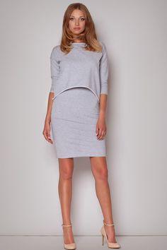 Subtle Flecked Overlay Grey Dress With Asymmetrical Top LAVELIQ