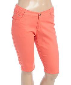 Coral Bermuda Shorts - Plus #zulily #zulilyfinds