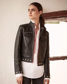 An embellished moto jacket has borrowed-from-the-boys appeal, with a feminine twist. Moto Jacket, My Wardrobe, Karl Lagerfeld, The Borrowers, Casual Outfits, Feminine, Photo And Video, Leather Jackets, Instagram