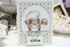 "Whimsy stamps, Crissy Armstrong, ""Hedgehog Hamburger"" Made by Cindy Hoesel,"