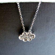 Cloud Necklace  Rhinestone Cloud Silver