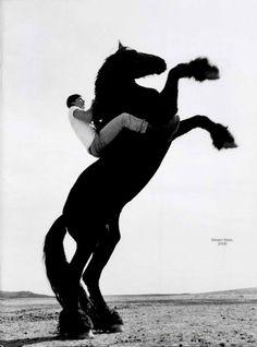 www.pegasebuzz.com/leblog | Photography : Steven Klein on a black horse