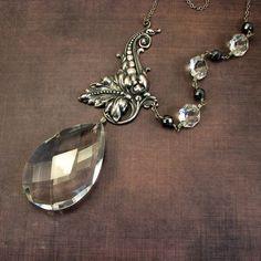 statement necklace - chandelier crystal necklace - handmade asymmetrical silver leaf flourish with vintage chandelier crystal