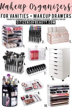 Makeup Vanity Desk With Lights. Makeup Organizer Cups and Makeup Vanity Pottery Barn those Makeup Vanity Design Ideas. Makeup Vanity With Led Lights And Drawers Diy Makeup Organizer, Make Up Organizer, Makeup Storage Organization, Make Up Storage, Make Up Organization Ideas, Storage Ideas, Pastell Make-up, Rangement Makeup, Palette Organizer