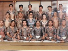 Yakuza family portrait This is not a Yakuza family - it's a tattoo club. Horiyoshi III (front row, from left) quit the Yakuza when he was much younger than he is in this photo. Not all heavily tattooed Japanese people are criminals Traditional Japanese Tattoo Meanings, Japanese Tattoo Designs, Tattoo Japanese, Mafia, Japan Tattoo, Yakuza Tattoo, Full Body Tattoo, Body Tattoos, Family Portraits