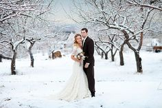 Winter bride and groom   Photo by AK Studio & Design