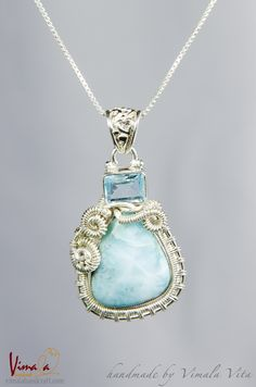 How to care your sterling silver jewellery - Larimar-Wire-Wrapped-Silver-Jewellery-Pendant--Necklace-Vimala-Handcraft