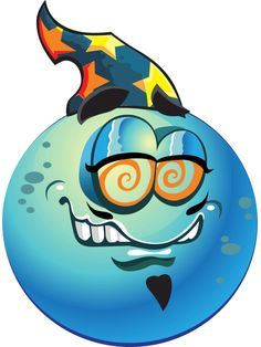Blue Wizard Smiley   This colorful smiley will help you show off your sci-fi side with its wizard's cap and genie-like expression.