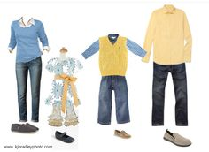 Spring Family Portraits ~ What to wear .  Love the blues and yellows!
