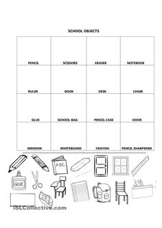 School supplies worksheets for kindergarten school objects to cut school and worksheets school supplies worksheets for . English Primary School, Kids English, English Classroom, Classroom Language, English Lessons, Learn English, Vocabulary Worksheets, School Worksheets, Kindergarten Worksheets