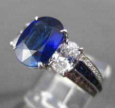 ANTIQUE PLATINUM 4.83CT DIAMOND & AAA SAPPHIRE 3 STONE ENGAGEMENT RING E/F VVS