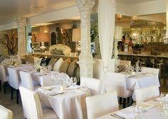 Beautiful Restaurant Decor at Villa Blanca in Beverly Hills, California 90210
